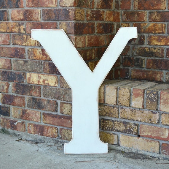 """24"""" Wooden Letter Y, Classic Font in Distressed White - all letters available in many colors"""
