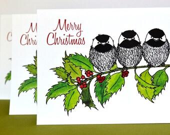 Cheery Chickadee Christmas Greeting Cards - Set of 6