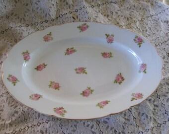 Vintage France Signed White with Pink Roses Oval Platter