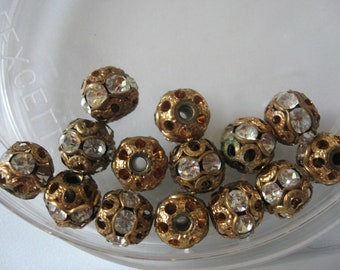 Vintage Swarovski Rhinestone Gold Brass Ball Beads 9mm QTY - 2