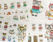 Girl Kitten - Nesshome - Cotton Linen Fabric - 4 in 1 Panel - 15.5in x 55in - S2F2