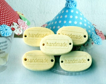 HANDMADE - Zakka Lovely Wooden Handmade Wooden Label Buttons 5's