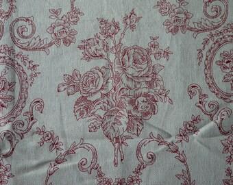Victorian Style Floral Pattern -  Cotton Linen Fabric - Fat Quarter