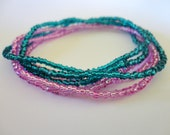 seed bead stretch bracelets set of 6 blue and pink