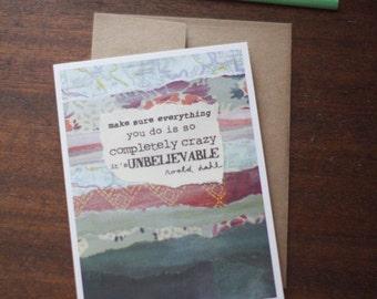 Greeting Card - graduation birthday congratulations adventure roald dahl quote Matilda - by Paper Taxi