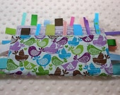 Woodland Birds Crinkle Ribbon Sensory Minky Toy