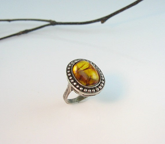 Vintage Oval Baltic Amber Sterling Ring Signed CN Size 6
