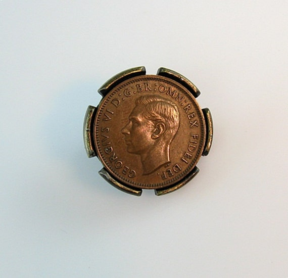 Bronze George VI Farthing Coin Tie Clip 1950s Swank Mens Accessory