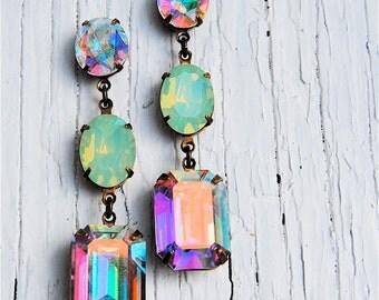 Aurora Borealis Pacific Opal Vintage Swarovski Earrings Nautical Earrings Rhinestone Earrings Mashugana