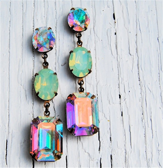 Aurora Borealis Pacific Opal Vintage Swarovski Earrings Nautical Earrings Rhinestone Earrings Mashugana