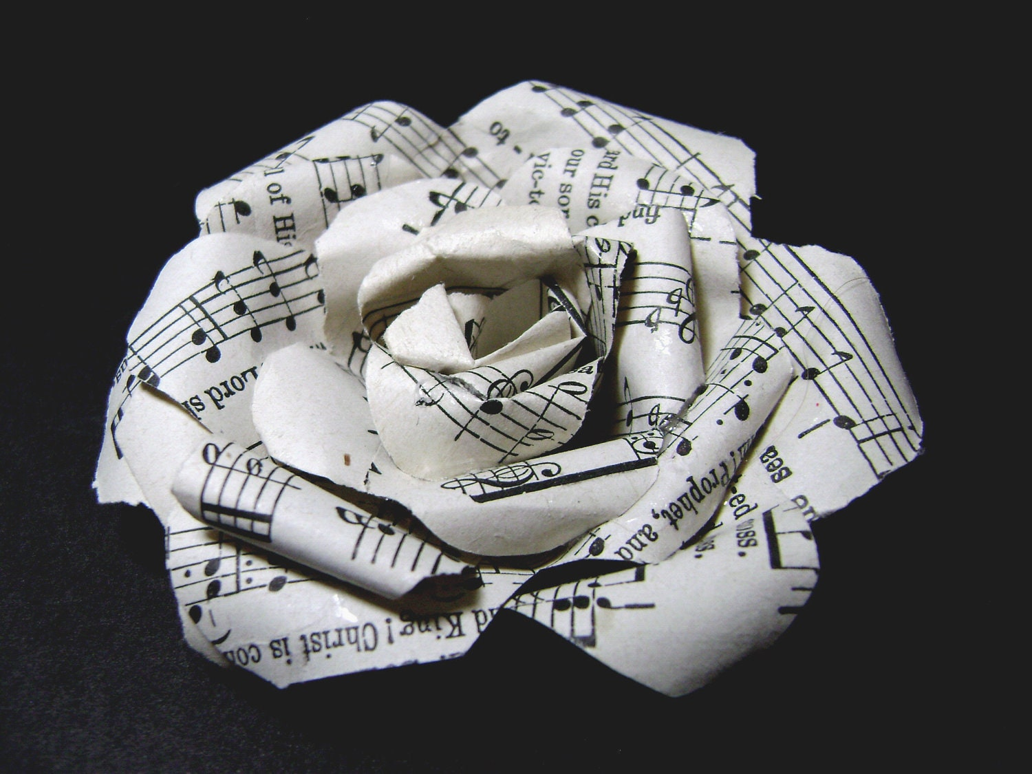 Paper rose pin made with vintage hymnal pages sheet music for Paper roses sheet music free