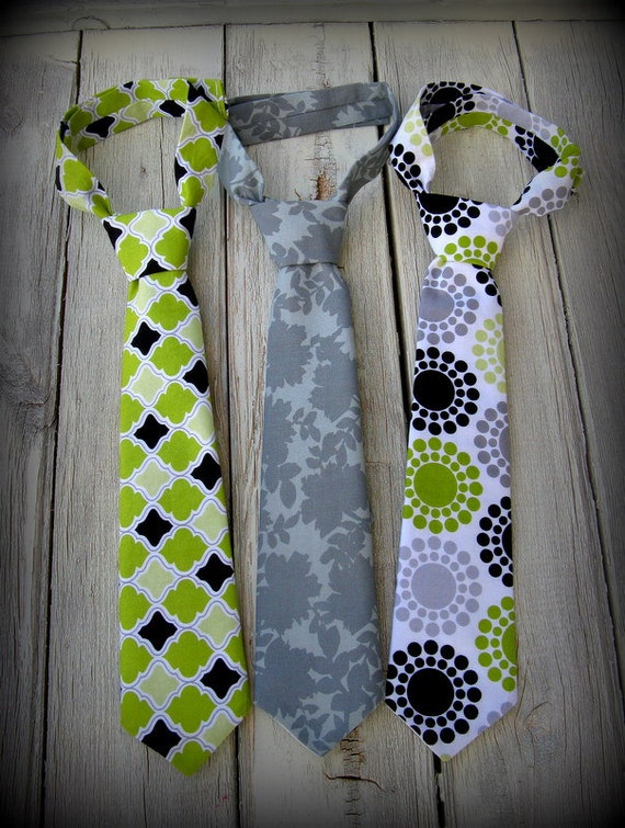 Set of 3 - Gray Lime and Black Boys Ties - Infant Toddler Tie - Gray Tie - Lime Green Tie - Polka Dot Tie - Little Boys Tie - Boy Photo Prop