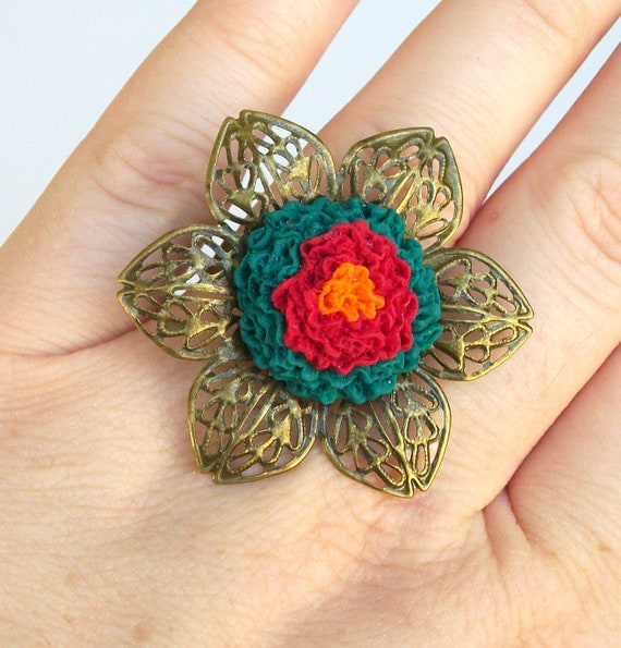 mexican flower ring mexican jewelry by