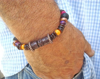 Men's Bracelet with Semi Precious Stones - Purple Imperial Jasper - Shell - Carved Bone and Wood - Black Lava - Copper - Free Spirit Men