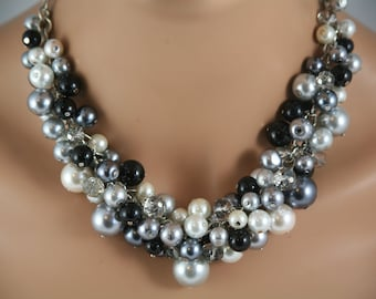Grey black white pearls together for this cluster necklace- bridesmaids necklace, bridal jewelry