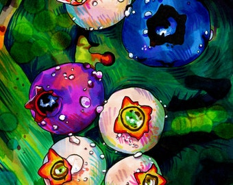 Budding Blueberries Print (Colorful Kitchen Berry Marker and Ink Drawing with Dewdrops and Leaves)