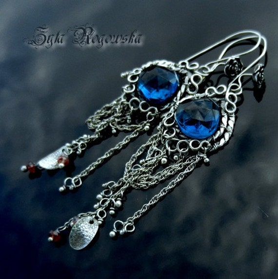Reserved SNOW QUEEN Wire Wrapped Earrings SILVER blue quartz