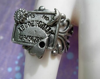 Detailed OUIJA Board RING Antique Silver Finish GOTHIC Halloween Paranormal Fortune Teller Spirits Adjustable Filigree Party Ring
