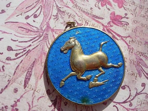 Vintage Chinese Flying Horse Medallion Pendant - Enamelled Loose Focal Piece Medal