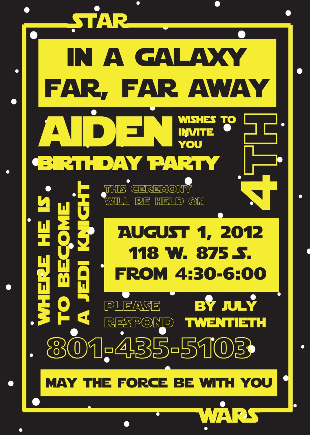 It is a graphic of Fan Printable Star Wars Birthday Invitations