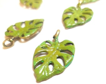 Philodendron Leaf Charms Antique Bronze Hand Painted Green 6 pcs