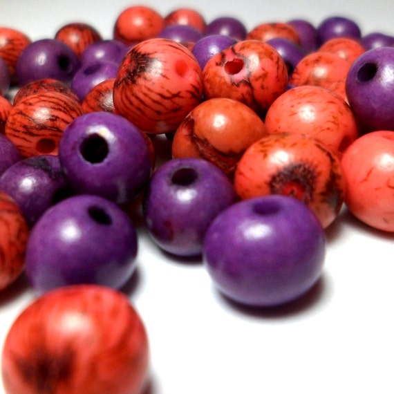 Acai Beads - Natural Seed Beads Coral and Violet mix 30 Pieces