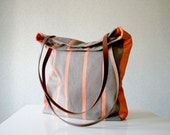 Tote bag Leather handles Striped Canvas Bucket bag Retro style