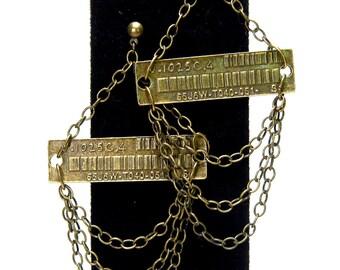 Industrial chandelier earrings, modern, barcode, shoulder dusters, antique brass tone, modern, edgy, rocker chic, statement earrings
