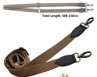 Adjustable Shoulder Handle - Coffee Leather Dark Khaki Canvas - 150cm / 59 inch - HD5