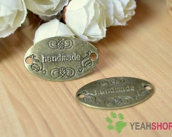 Antique Brass Ellipse Sewing Labels - Handmade - Set of 10 (SL1)