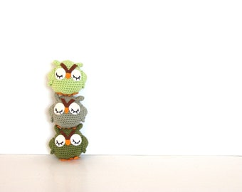 3 Owl plush toys, owl stuffie in neon green, khaki and olive green