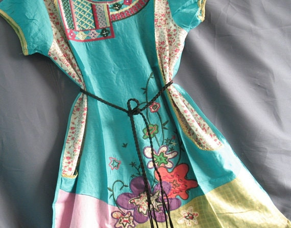 Women Top Shirt Tunic With Two Pockets Green Floral Blouse Tshirt Xmas Gifts Ladies