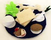 Passover Seder Plate Felt Food Dinner Play Set