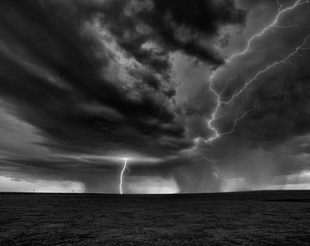 Black and white Fine art print of a thunderstorm in Colorado with lightning