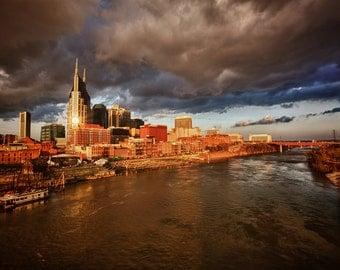 Fine art print of the Nashville, TN skyline at sunrise