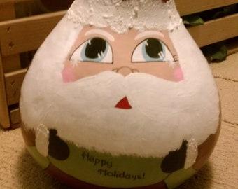 Handpainted Santa Gourd