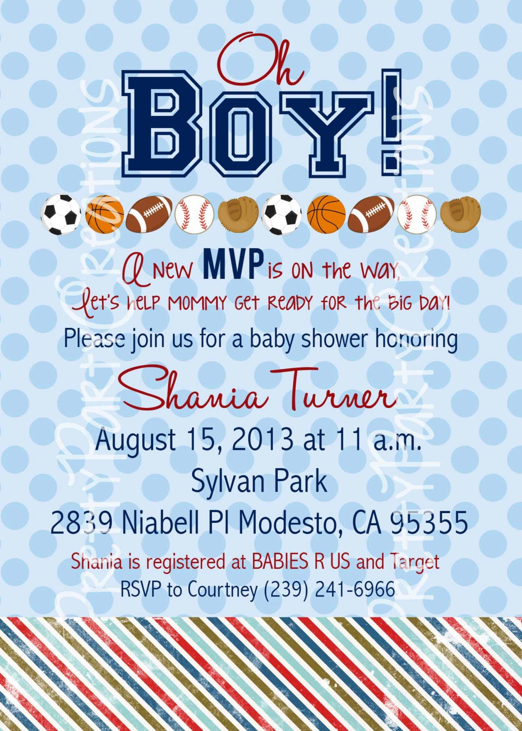 sports baby shower or birthday invitation you print