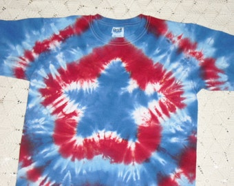 Tie Dye youth large Patriotic Star shirt- Ready to ship