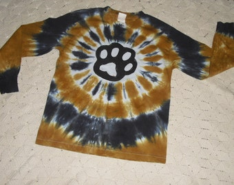 Tie dye shirt, youth medium, long sleeves, black and vegas gold- PAW (OTHER SIZES available, too!!!) 250
