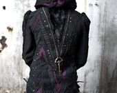 Deep Violet Purple Black Lace, Cotton Canvas, Large Skeleton Key, Patchwork Jacket with Skull and Cross Bone Pirate Cuffs, Corset, Hood