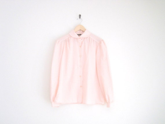 vintage peachy pink peter pan collar shirt