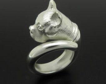Bulldog sterling silver ring