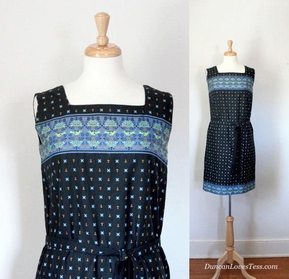Vintage 60s Dress / Cotton Sleeveless Sheath / Preppy Wiggle Dress / Summer Spring / 60s Fashion