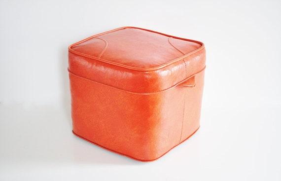 Burnt Orange Naugahyde Ottoman - Circa 1970s