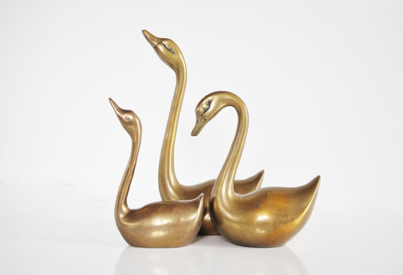 Trio of Brass Swans