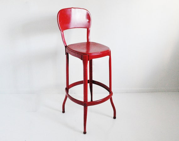 Vintage Cosco Stool Bright Red
