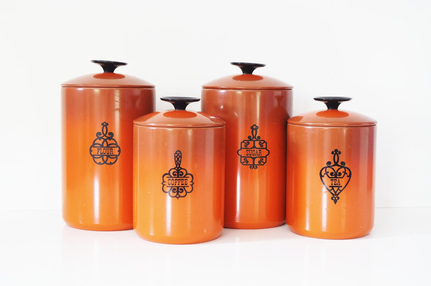 burnt orange west bend kitchen canisters