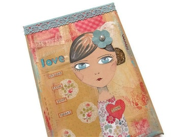 "Love shines from your heart - Original mixed media canvas 5x7"" inspirational cute girl art"