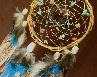 Custom White Willow Dream Catcher- Butterfly Kisses- Beaded Dream Catcher