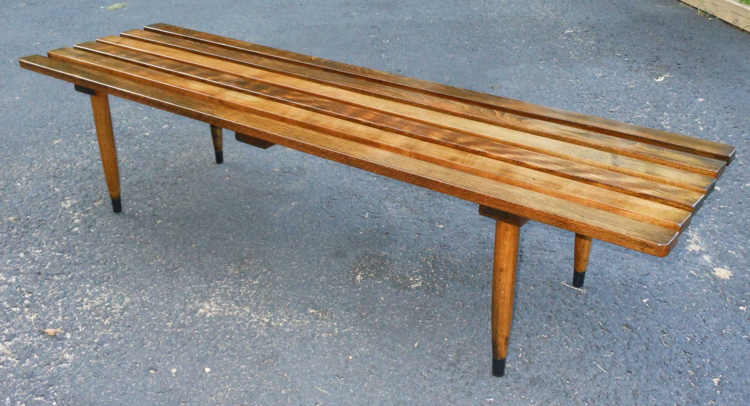 Vintage Mid Century Modern Slat Bench George Nelson Style